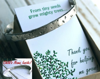 Sale. Teacher appreciation Gift.  Hand Stamped Cuff Leaf Leaves Bracelet. From tiny seeds grow mighty trees Silver Aluminum. Personalized