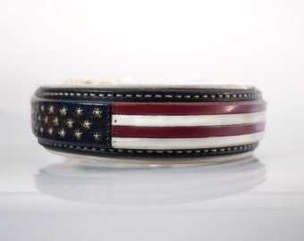 American Flag Dog Collar with Padding - 4th of July dog collar red white blue leather dog collar USA made Custom Tooled Leather Dog Collar