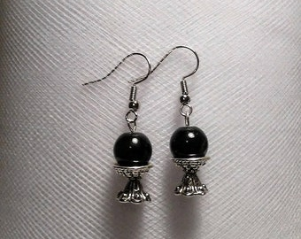 Small jet black crystal ball on a stand earrings