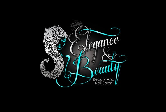 Beauty and Nail Salon Logo, Custom Business Logo, Silver and Teal Logo, Woman Silhouette Logo, Cursive Lettering Sign Logo, Wall Logo Design