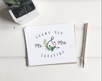 Succulent Wedding Cards. Thank You Cards. Cactus Custom Wedding Cards. Personalized Wedding Gift. Custom Wedding Note Cards. Wedding Cards