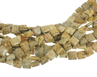 "Picture Jasper 10mm Flat Square Gemstone Beads - Full 16"" Strand - About 39 Beads - Natural Stone"