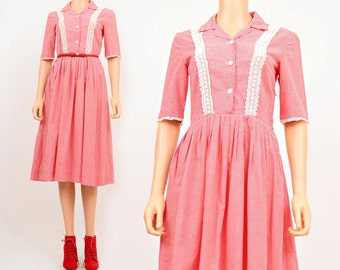50s Red Gingham Dress Lace Trimmed Full Skirt 1950s Pin Up Rockabilly Cotton Day Dress Small Medium S M 6 8