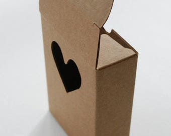 Kraft Heart Cut Out Box (3) * 3 7/8 x 2 3/4 x 1 1/8 * one piece box * gift box * packaging * soap box * heart shape box