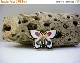 ON SALE Vintage Colorful 1960s Cloisonne Butterfly Pin 31517