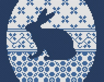 Cross stitch pattern, rabbit silhuette, hare, vintage needlepoint, Easter egg