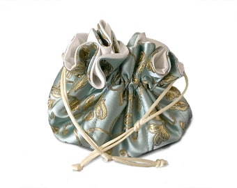 Draw String Jewelry Travel Pouch Bag Tote -Pale Blue With Gold -