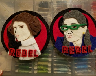 PATTERN: Rebel Leia + Rebel Carrie Fisher Felt Ornament / Wall Hanging
