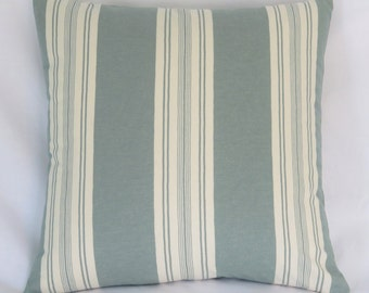 "Teal Green and White Striped 17"" Pillow Cover, Square Cushion 100% Cotton, Ticking or Awning, Ready to Ship"
