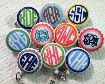 Treat yourself to a monogrammed badge reel id holder badge perfect present monogrammed badge reel id holder badge pull for students nurses teachers doctors solutioingenieria Image collections