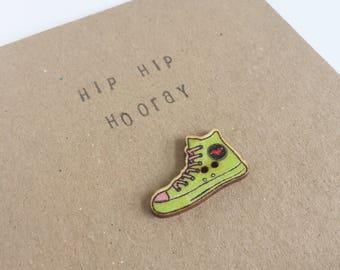 Hip Hip Horray - Birthday Card - Wooden Button - Celebration - Snail Mail