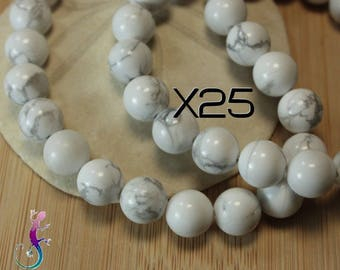 25 beads 8mm howlite white marble