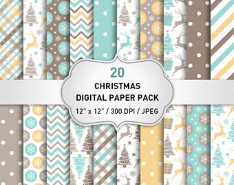 "Christmas digital paper Commercial Use: ""CHRISTMAS PAPERS"" with Snowflakes Deers Christmas Trees, Christmas Background, Snowflake Paper"