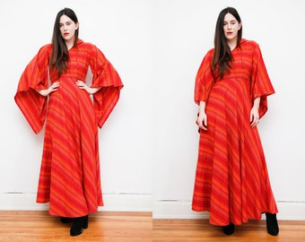 Vintage Indian Cotton Dress Boho Dress Hippie Dress Kaftan Kimono Dress 70's