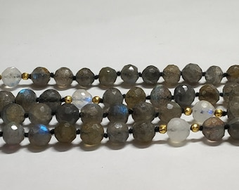 Natural Labradorite 108 Faceted Round Balls Strand  width:- 7 mm Hand Knotted Necklace  Meditation Prayer Yoga Mala