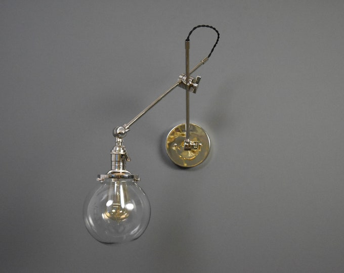 Polished Nickel Articulating Adjustable Industrial Wall Lamp with 6 inch Glass Globe Boom Light Pharmacy Edison