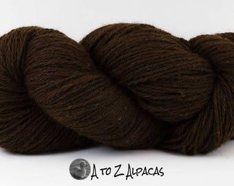 SUPER-SIZED SKEIN! Royal Baby Alpaca Yarn Aran Weight Natural Dark Brown Large 200 gram skein