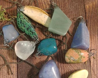 10 Assorted Gemstone Pendants