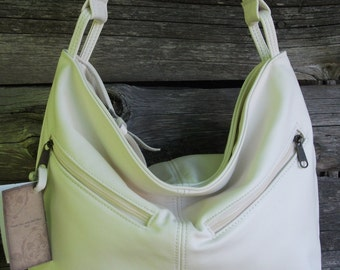 Handmade Leather Purse- beautiful cream color leather- Rachel style shoulder bag