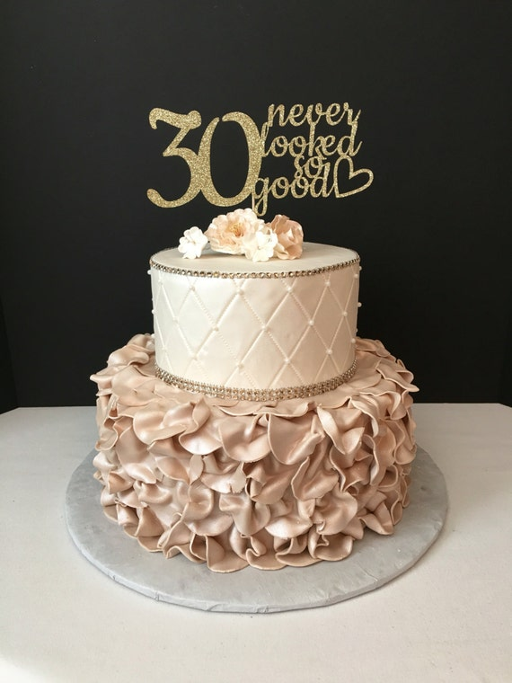 ANY NUMBER Gold Glitter 30th Birthday Cake Topper 30 Never