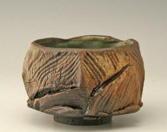 wabi sabi teabowl with jagged cuts, chawan with wood fired look, aged teabowl, matcha bowl, rustic japanese tea bowl, antique yunomi, Shikha
