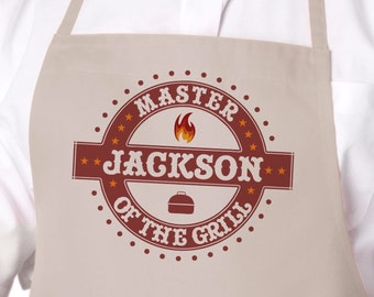 Master of the Grill Personalized Apron, Grilling Apron, Gift for Dad Father's Day Gift, Camping Gift, Mens BBQ Apron, Barbecue Apron APR-015