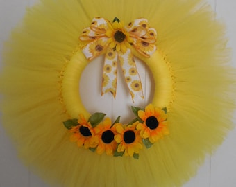 Yellow Summer Tulle Door Wreath with Sunflowers and Bow