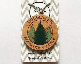 Laser cut wood necklace - Douglas Fir Appreciation Society Twin Peaks Agent Cooper handpainted