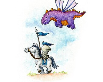 Purple Dragon Watercolor Print