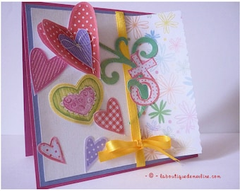 All occasion card: card hearts and love for mother's day or other