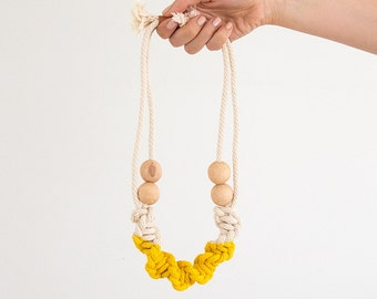 Yellow rope necklace, macrame necklace, statement necklace, woven necklace, natural necklace, natural macrame necklace, boho necklace