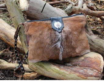 Messenger bag, leather/goatskin, Upcycling