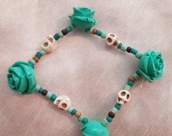 Teal rose and skull bracelet