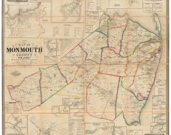 Monmouth County  New Jersey 1861 Wall Map  -  Reprint with Homeowner Names