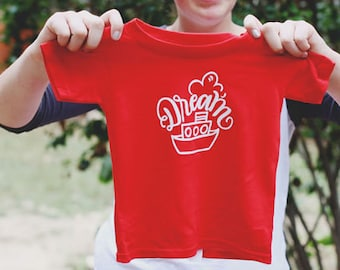 DREAM BOAT - Children's Red & White Tee Shirt - Size 4 4t - Hand Drawn Calligraphy Lettering - Tug Boat - Sailor - DearSeed