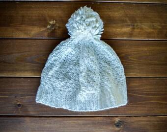 Child's White PomPom Hat