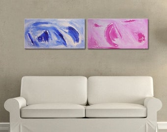 "U N I Q U E Large TEXTURED Canvas Art With Lilac Pink Colors: ""Forever Dreaming"" Two Part Fine Art , 48x12 inches. Minimalist Wall Art"