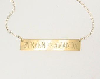 Gold Nameplate Necklace, 14K Gold Bar Necklace, Free Engraving Name Plate As Seen on Kim Kardashian, Yellow White or Rose Gold