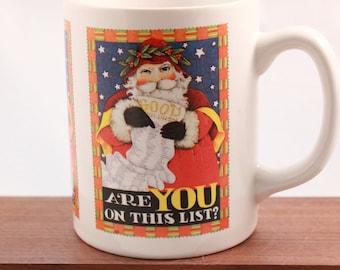 "New! Vintage Mary Engelbreit 4"" Tall 8 Oz. Mug. Santa"