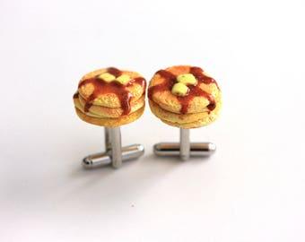 Pancake Cufflinks - Groomsman Cuff Links- Polymer clay food Jewelry