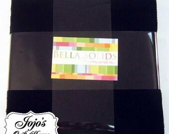 Bella Solids Layer Cake Black by Moda Fabrics SKU 9900LC 99