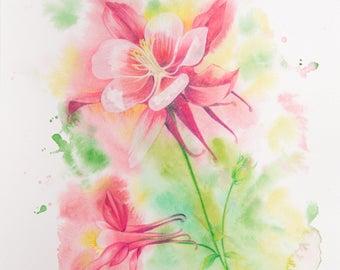 Watercolor Splash - Columbine