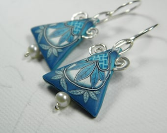 Heart Weave Millefiori Polymer Clay Dangle Earrings- Freshwater Pearl and Sterling Silver