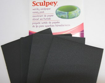 "8 piece pack of Wet/Dry Sandpaper Variety Pack 2.75"" X 4.5"" for polymer clay by Polyform/Sculpey"
