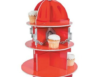1/ Fire emergency team  Cupcake Holder / firefighter theme party / fire hydrant. /firefighter / fire department / fire hydrant
