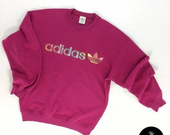 ON SALE Vintage Multicolor Logo Adidas Sweatshirt   Vintage Adidas Sweater   Vintage 90s Adidas   Vintage Sweatshirt  