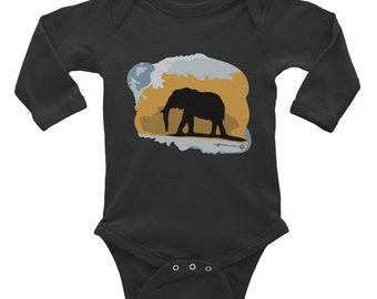 Elephant Silhouette Infant Long Sleeve baby onesie. Colorful, stylish, edgy Elephant clothes for baby. Style your little one in fashion