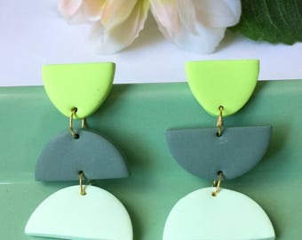Klay By Pia ||| The Green Trio Dangle Earrings ||| Pistachio Green, Olive Green & Pastel Green