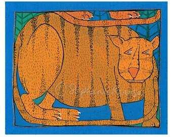 "Tiger, Tiger - 8"" x 10"" matted, signed digital Giclee print from original artwork"