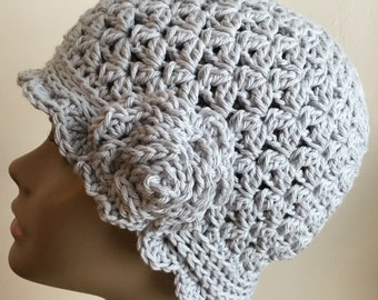 Women's crochet hat, cloche, summer / spring, COTTON, chemo hat, Light gray, removable flower, Ready to ship.  S41